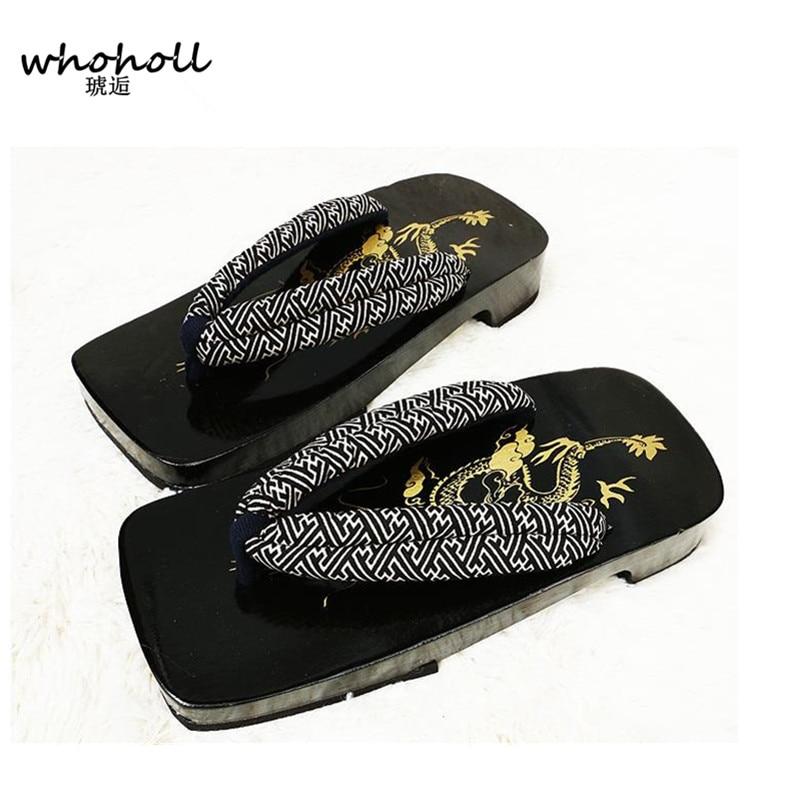 2016 Summer man Sandals Japanese Geta candlenut Clogs wooden slippers man Cosplay Chinese dragon flats Flip Flops MGET-962