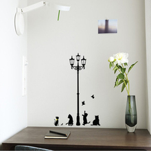 2PC Small Size Home Decoation Wall Decals Kids Vinyl Walls Vintage Naughty Cats Birds And Street Light Lamp Post Wall Stickers