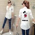 Women Blouses White Shirt Womens Mickey Embroidery Long Shirts Woman Tops Women Blouse 2017 Summer Ms Shirt Female Character