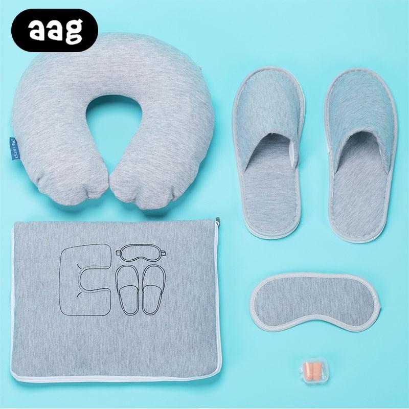 AAG Inflatable U Shape Neck Pillow Portable Folding 5 Piece Set Travel Suit Neck Pillow Slippers Eye mask Earplugs Storage Bag