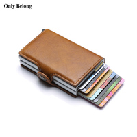 Only Belong Rfid Brand Wallet Men Money Bag Mini Purse Male Metal Aluminium Card Wallet Small Smart mens wallet leather Vallet