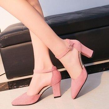 68ae32b2034b Новинка 2019, модные женские туфли-лодочки на высоком каблуке, летняя женская  обувь, туфли-лодочки на толстом каблуке, уд