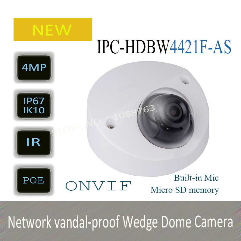 DAHUA 4MP WDR Network Vandalproof IR Wedge Dome Camera IP67 with Fixed Lens Original English Version