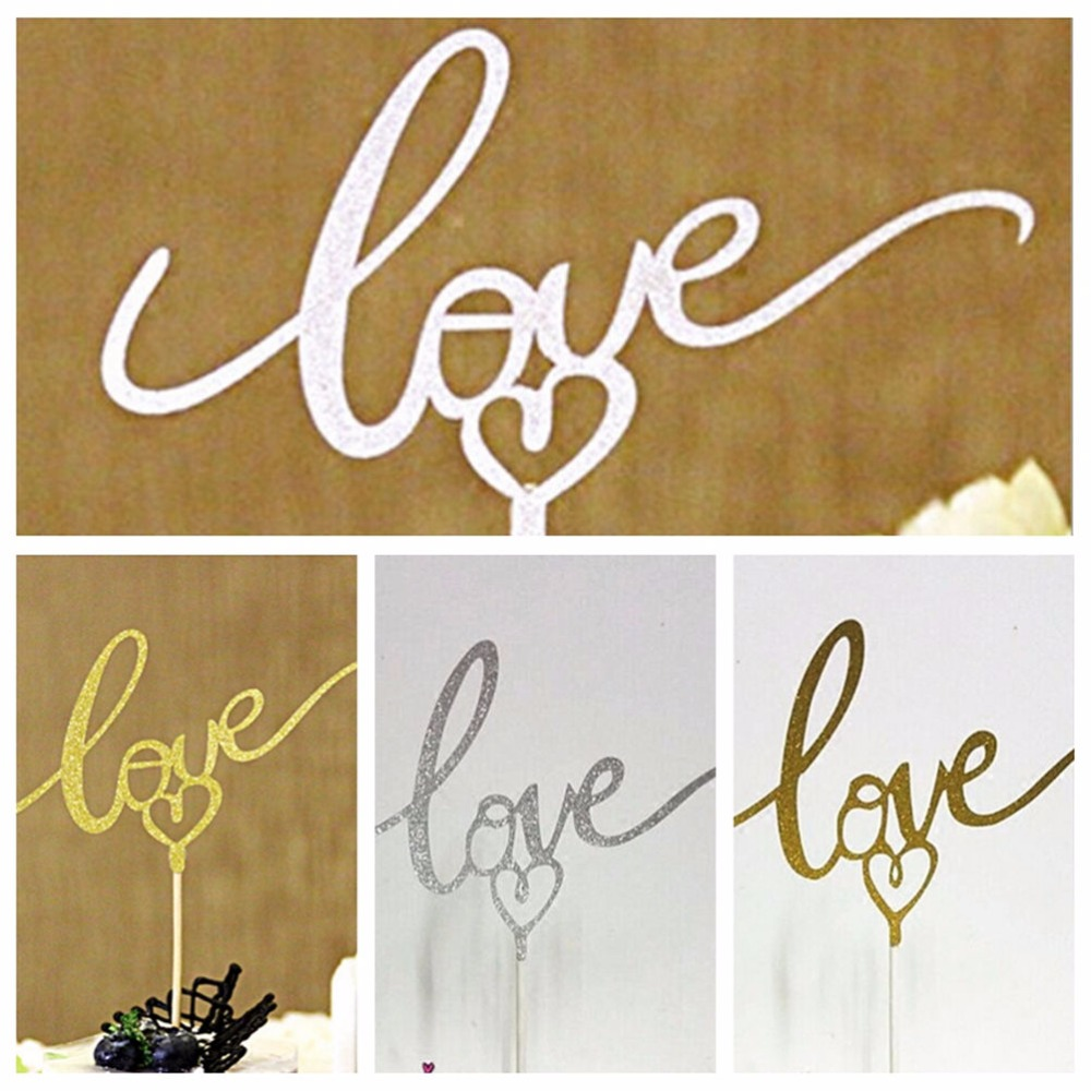 1 Pc Cupcake Wrappers Wedding Birthday Party Decorations Gold Sliver Color Love Heart Cake Toppers