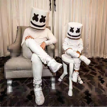 DJ Marshmello Mask Full Face Cosplay Costume Carnaval Halloween Prop Dotcom Latex Masks Headdress Accessories