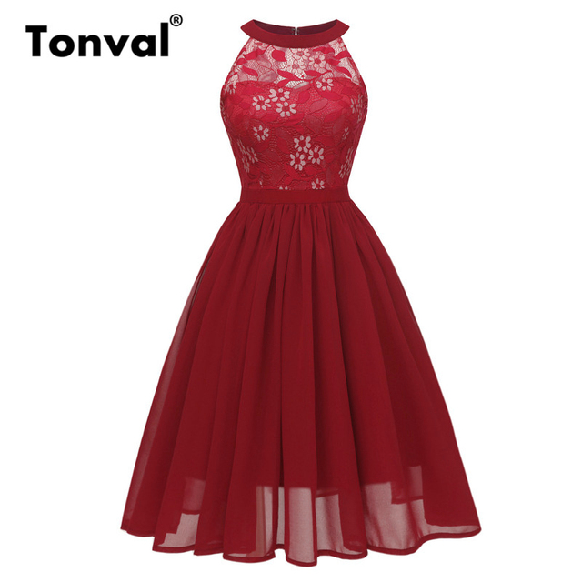 dc343a6ea346b Tonval Burgundy Sleeveless Floral Lace Pleated Chiffon Dress Women Halter  Fit and Flare High Waist Elegant Party Dresses