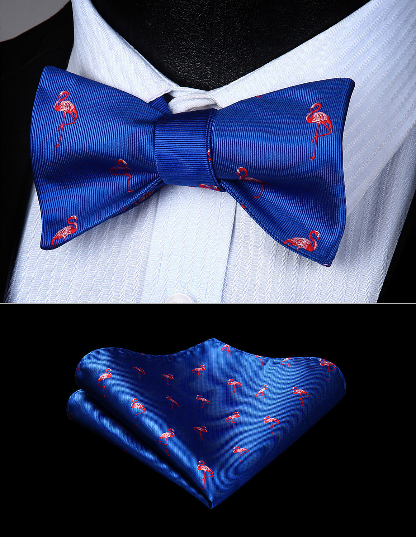 Men Woven Self Bow Tie Blue Red Flamingos Butterfly Pocket Square Set#BGA09BS Bow Tie Handkerchief Set