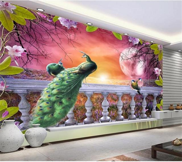 3d room wallpaper custom mural non woven photo peacock beautiful scenery painting picture 3d wall
