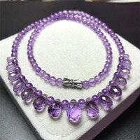 Подлинная фиолетовая натуральная аметистовая Длинная цепочка ожерелье 5 мм Капля воды кулон кристалл ожерелье из натурального аметиста