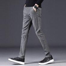 Autumn Winter Men Casual Pants Cotton Business Fashion Slim Sanding Elasticity Trousers Male Brand Clothes Grey Black Blue
