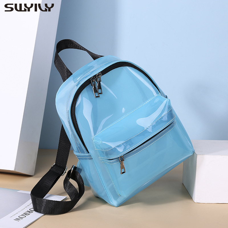 SWYIVY Plastick Jelly Shoulder Bag Woman Summer PVC Transparent Backpack Beach Holiday 2019 Lady Waterproof Backpacks For Woman 3