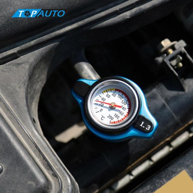 אוניברסלי תרמו תרמוסטטי רדיאטור שווי כיסוי עם טמפרטורת מים מד רכב סטיילינג