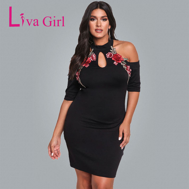Liva Girl Women Cold Shoulder Plus Size Bodycon Dress Short Sleeve ...