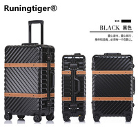 Metal ring angle PC suitcase with wheels 20 24 26 29 travel trolley case Hardside rolling luggage, TSA lock Valise Cabine
