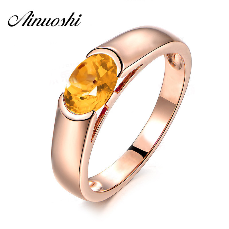 AINUOSHI Natural Citrine Ring Pure 925 Sterling Silver Rose Gold Color Ring 1.25ct Oval Cut Gems Engagement Jewelry Women Ring new pure au750 rose gold love ring lucky cute letter ring 1 13 1 23g hot sale