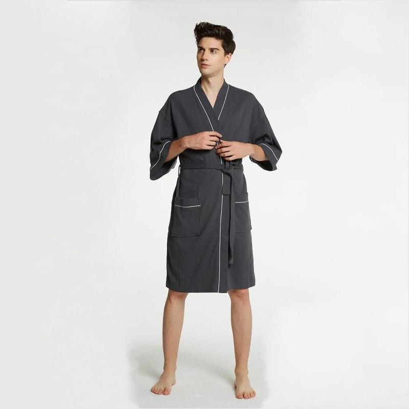 2019 Frühling Top Qualität Pyjamas Robe Männer Weiche Baumwolle Roben Männer Kalb-länge Hülse V-ausschnitt Kragen Bademantel Männlichen Lösen Bademantel