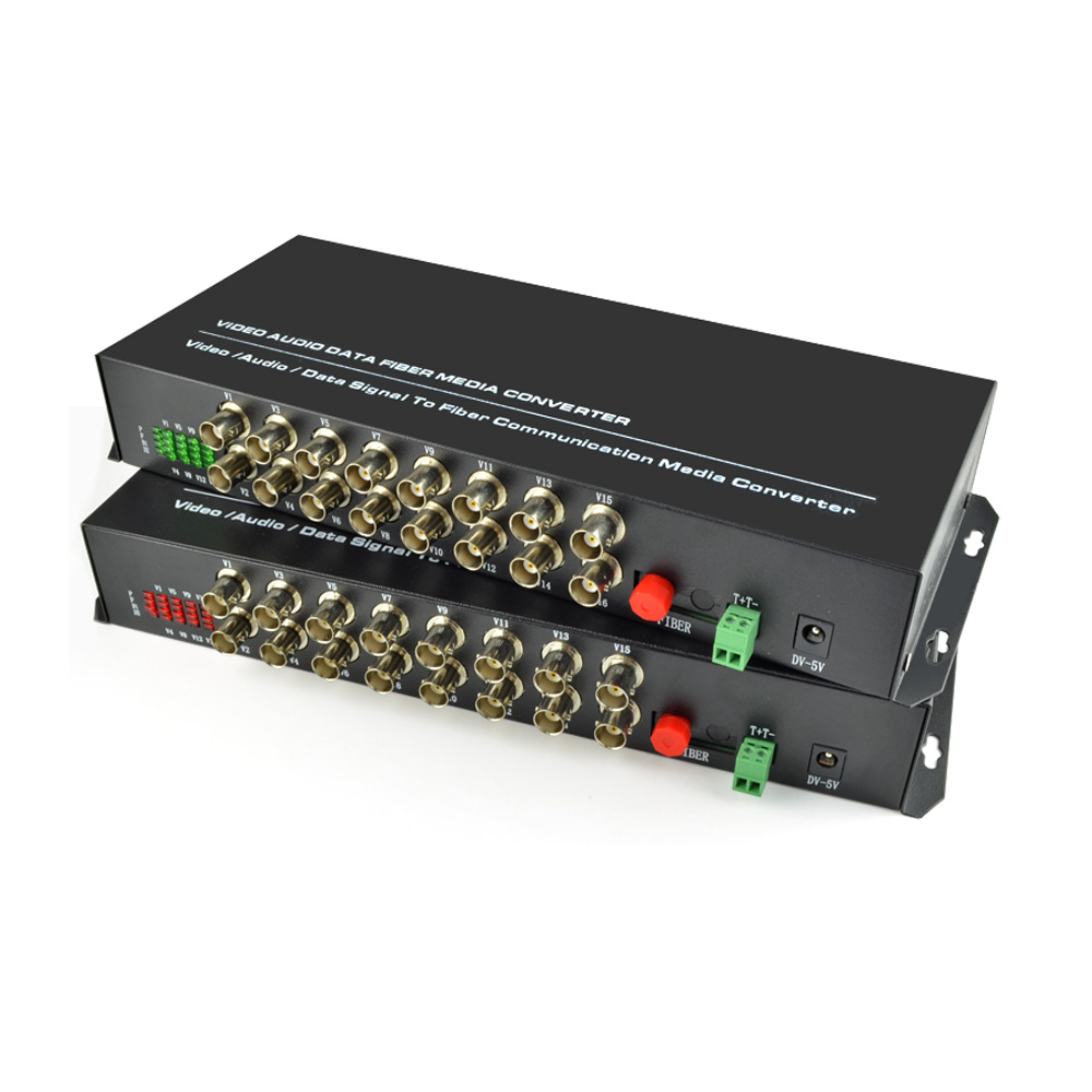 16 Channel Digital Video Fiber Optical Media Converters Transmitter Receiver with RS485 Data -For CCTV Analog Cameras