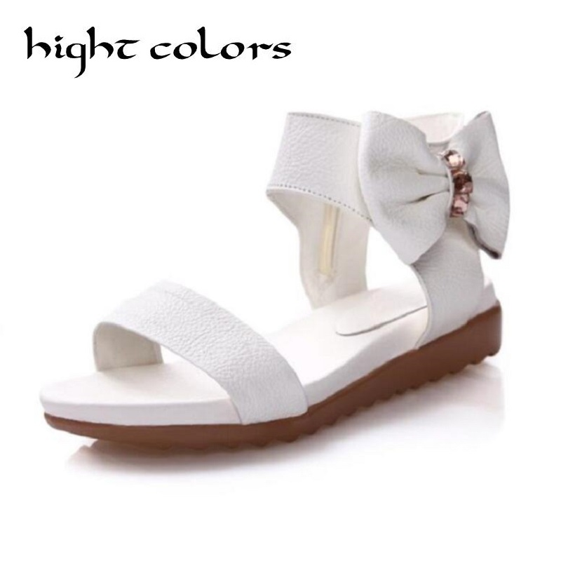 Fashion Women Genuine Leather Sandals Sweet Bow School Students Girl Shoes Black White Zipper Flat  Sandals For Women new fashion silver tone chain trim flat sandals flat heel black white metal leather ankle sandals for women free shipping