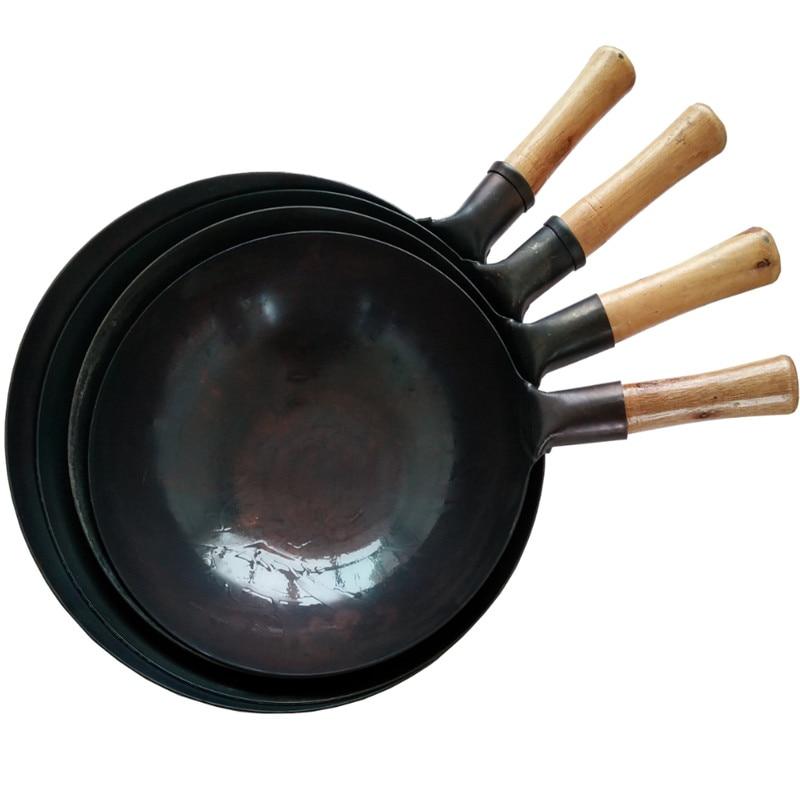 wooden handle kitchen Cooking Pot 32/34/36 Cast Iron Skillet Cooker Universal Wok Restaurant Chef Stir Fry Special Wok Pan