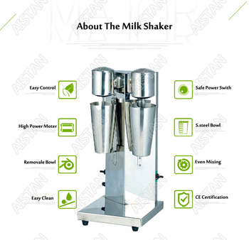 MS2 electric double head coffee milk shaker blender machine with two bottles 2
