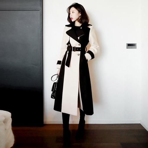 Korean Fashion Belt Women Long Trench Patchwork Windbreaker Double Breasted Overcoatwomens Fashion Europian Clothes Coat|Trench| |  - title=