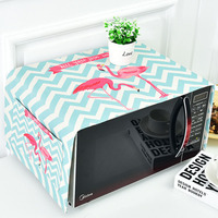 1PCS 5 Styles Flamingo Cotton Linen Microwave Oven Cover Cloth With 2 pocket Storage Bag Polyester Fabric Dust Covers 35*95CM