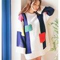 Новый Корейский Заклинание Цвет Вязать Длинный Свитер Женщин 2016 Свободные Пуловеры Свитера Повседневная Мода Завышение свитер Потяните Femme Плюс Размер