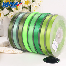 YAMA 25 28 32 38 mm 100yards/lot Double Face Satin Ribbon Light and Dark Green for Party Wedding Decoration Handmade Rose Flower