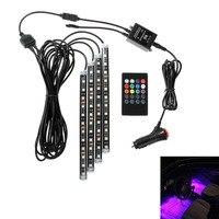 Hot! 4 Pcs RGB LED Neon Luz Interior Do Carro Tira Lâmpada de Controle Remoto Sem Fio Automóvel Decorativo Seqüência de Luz Para O Natal