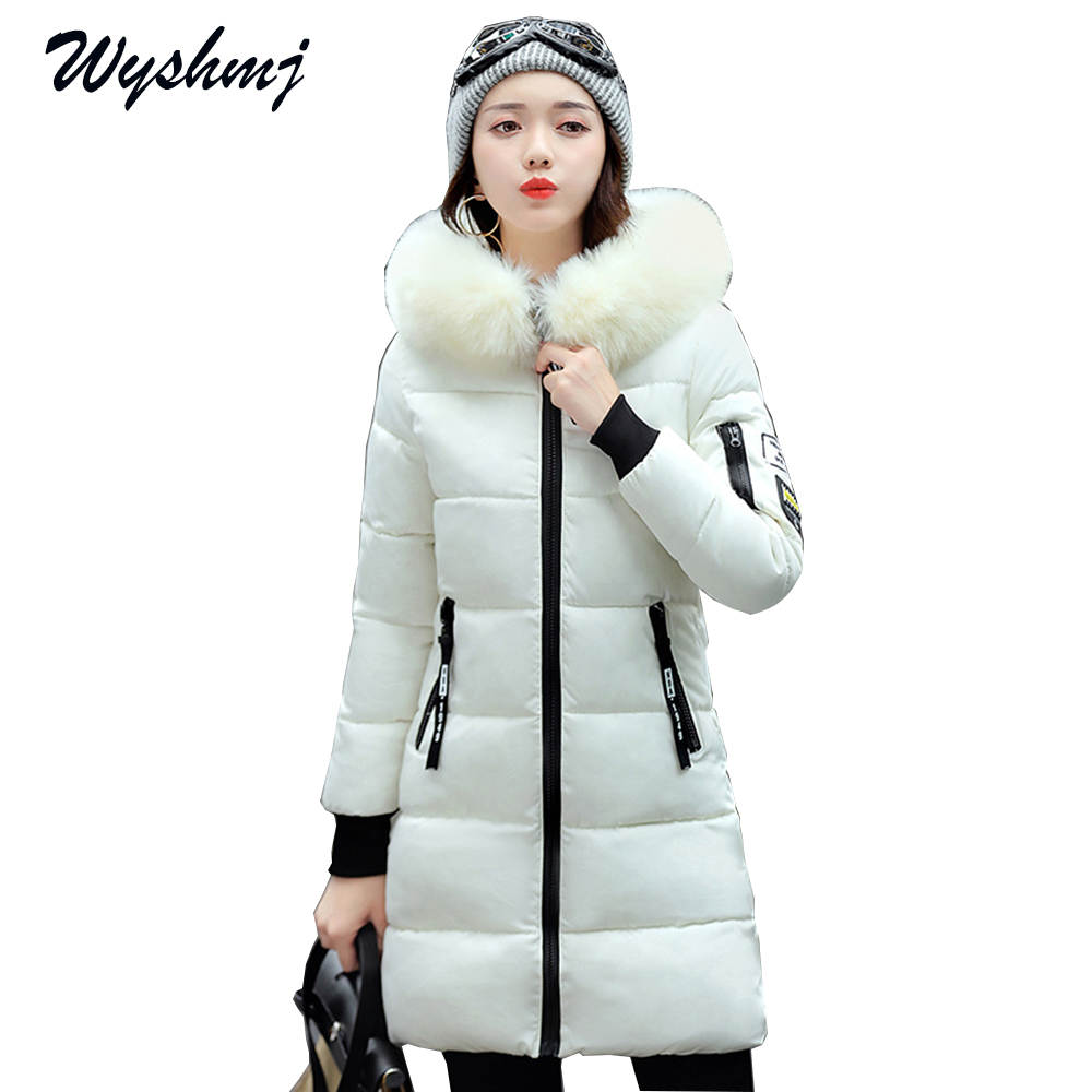 2017 New Winter Jacket Women Wadded Female Slim Hooded Coat Long Cotton Padded Fur Collar Parkas Plus Size 3XL Outerwear WH288