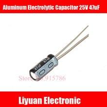 Condensador electrolítico de aluminio de alta calidad, 25 V, 47 uF, 5x11mm, 47 uf, 25 v, lote de 50 unidades