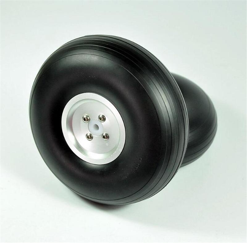 1 Pair RC Airplane 6 0 152 5mm CNC Dia Casting Aluminum Hub PU Wheels