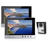 JEX 10 дюймов видео домофон дверной Звонок динамик домофон комплект 2 монитор + 700TVL ИК Камера 1V2 в наличии