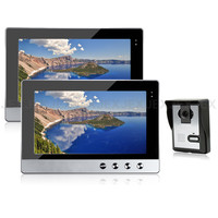 JEX 10 inch video door phone intercom doorbell speaker intercom system kit 2 monitor + 700TVL IR Camera 1V2 In Stock