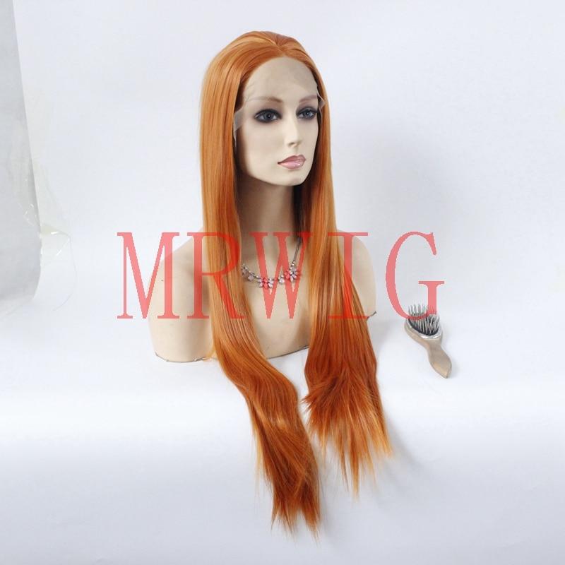 MRWIG Cabelo Real 26 polegada Mid Parte Cor Vermelho Laranja Bronw Médio Resistente Ao Calor Lace Synthetic Frente Perucas Glueless rendas