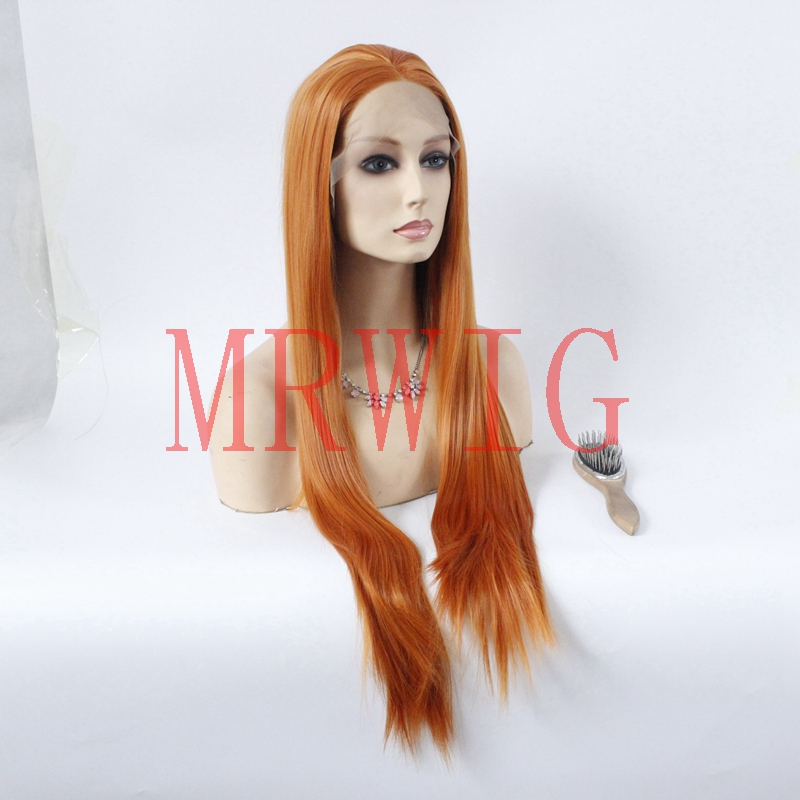 MRWIG Real Hair 26inch Mid Part Orange Red Color Heat Resistant Synthetic Lace Front Wigs Glueless Medium Bronw lace
