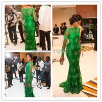Fast Shipping New Miss Nigeria Red Carpet Dress Long Sleeves High Neck Mermaid Green Lace Celebrity Dress Formal Evening Dress