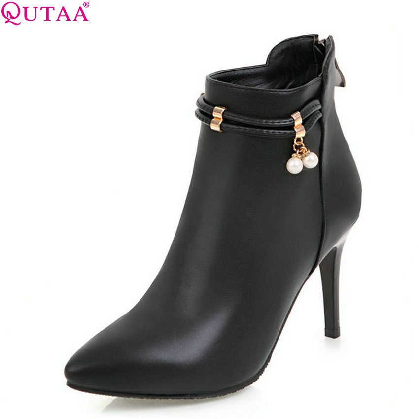 QUTAA 2018 Women Boots Fashion Thin High Heel Pointed Toe Zipper Design Pu Leather High Quality Women Ankle Boots  Size 33-43 popular high quality full grain leather ankle boots size 40 41 42 43 44 sequined decoration zipper design round toe boots