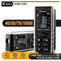 Medidor de distancia láser DEKO LRE521 40/50/70/100M Pantalla LCD portátil telémetro láser Dual distancia/área/volumen/Pitagórica