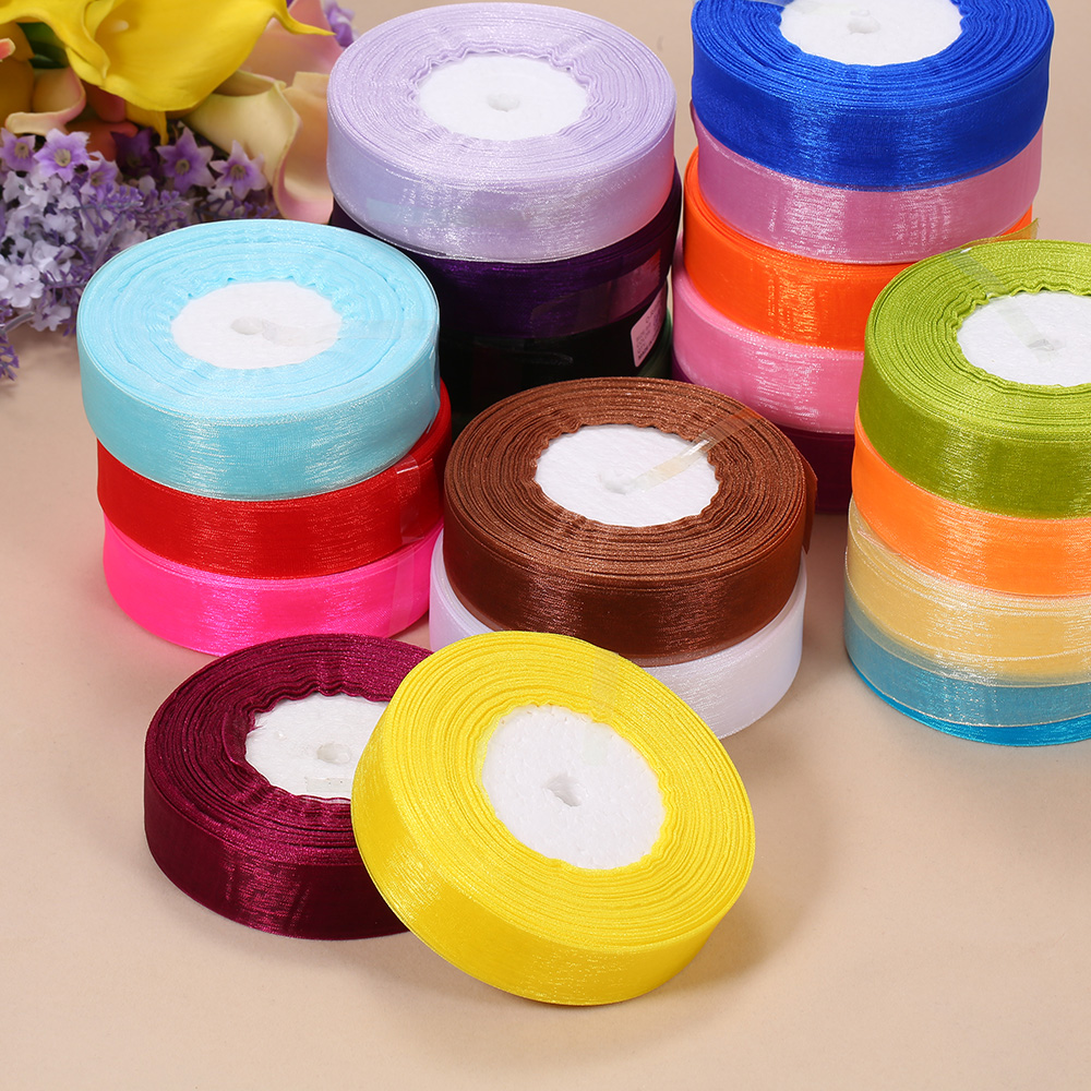 DIY Making Christmas Ribbons 25mm 50 YardsRoll Silk Organza Transparent Ribbon for Wedding Party Webbing Gifts Packing Belt