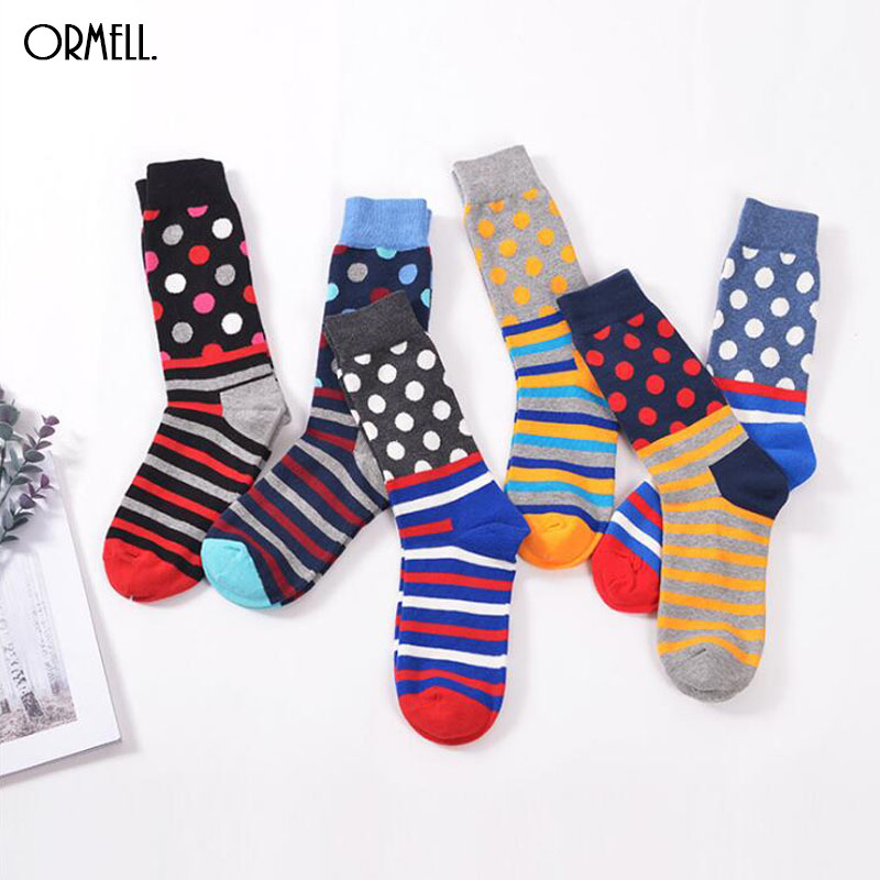 New Fashion Colorful Socks For Couples Stripe Dot Sock Street Style Casual Cotton Compression Socks