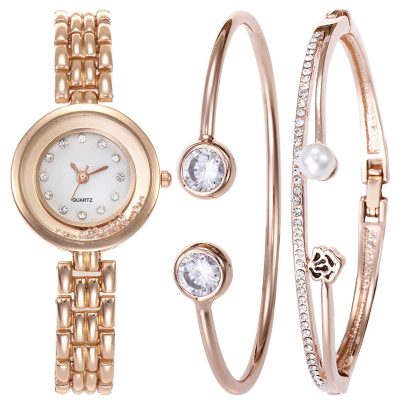 Роскошные Сталь полоса часы 2018 Мода цинковый сплав часы-браслет комплект ювелирных изделий и Часы для Для женщин Прямая доставка