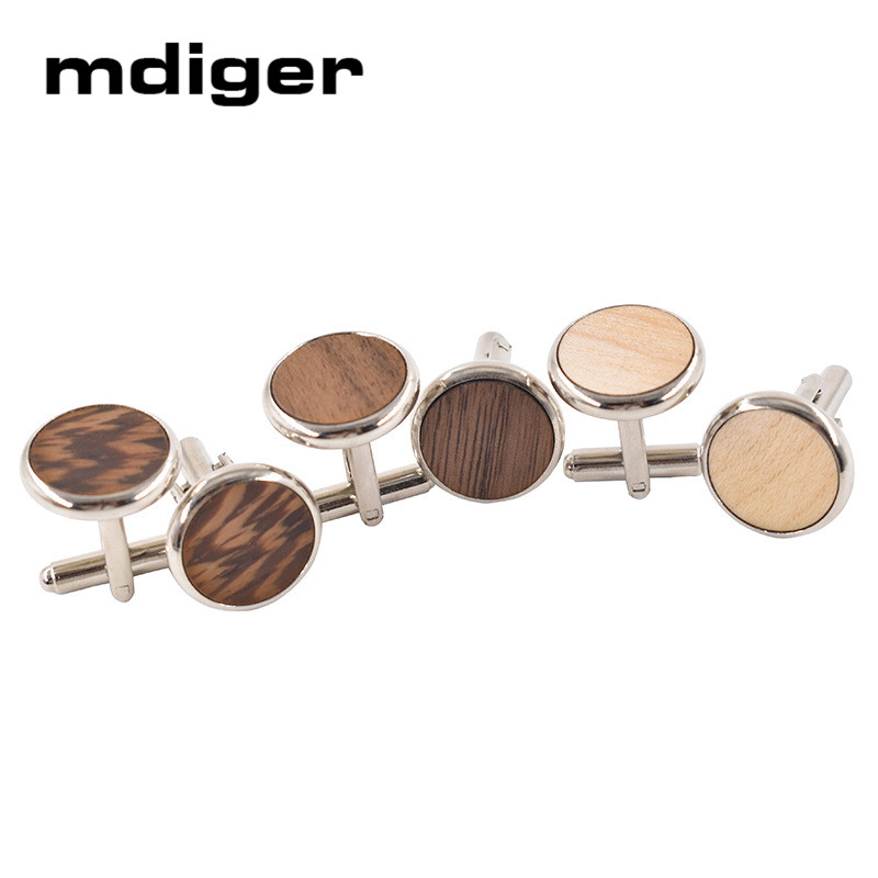 Mdiger Brand Cufflinks Wood For Mens Gifts New Fashion Large Round Cufflink Fashion High Quality Cuffinks For Wedding Party