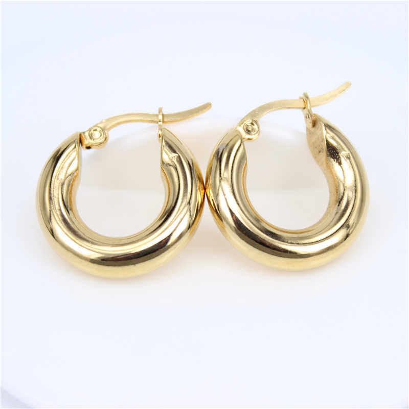 20mm-30mm Gold/silver color 12G solid Stainless steel jewelry Fashion exquisite simple female  Round Hoop Earrings LH389