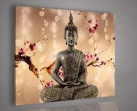 Astratta moderna enorme grande tela arte pittura a olio 1 p sfondo marrone chiaro buddha non incorniciato