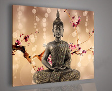 MODERN ABSTRACT HUGE LARGE CANVAS ART OIL PAINTING 1P light brown background buddha paintings  no framed
