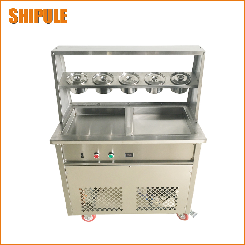 Full Stainless Steel Double Square Pan Fried Ice Cream Machine Flat Pan Fry Ice Cream Maker Yoghourt Fried Ice Cream 2017 single pan fried ice cream roll machine economical model square pan fried ice machine fry yoghourt machine