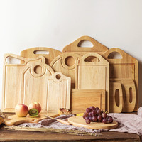 Natural Wood Cutting Boards Creative Antibacterial Rubber Wood Chopping Block Eco Friendly Handmade Fruits Tray Baby
