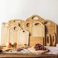 Natural Wood Cutting Boards Creative Antibacterial Rubber Wood Chopping Block Eco Friendly Handmade Fruits Tray Baby