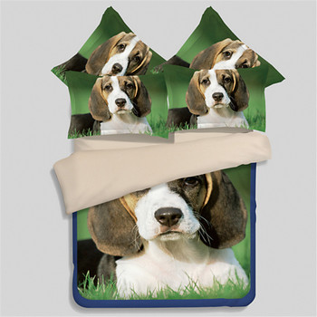 Cartton home textile,outlet 3D Realistic dogs bedding sets king queen twin size green duvet cover bed sheet pillow cases 3/4pcs
